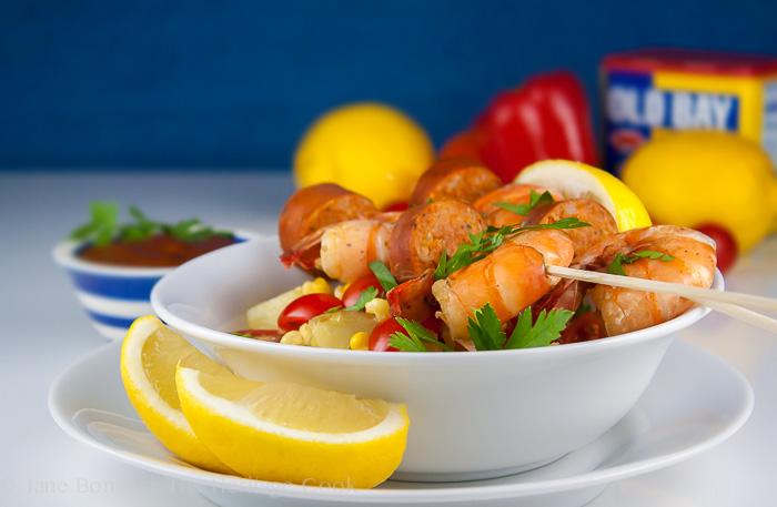 Old Bay Shrimp Boil Skewers; 2014 Jane Bonacci, The Heritage Cook