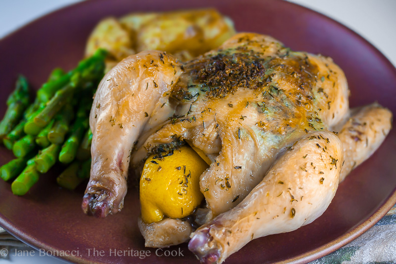 Roasted Game Hens with Compound Butter and Rosemary Potatoes; 2014 Jane Bonacci, The Heritage Cook