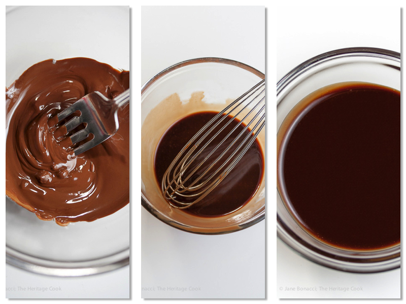 Melted chocolate; whisking the dressing; sultry chocolate vinaigrette