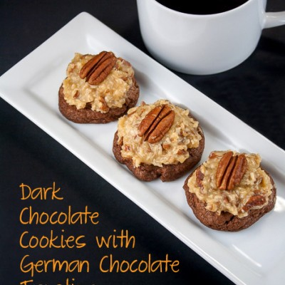 Dark Chocolate Cookies with German Chocolate Frosting (Gluten-Free)