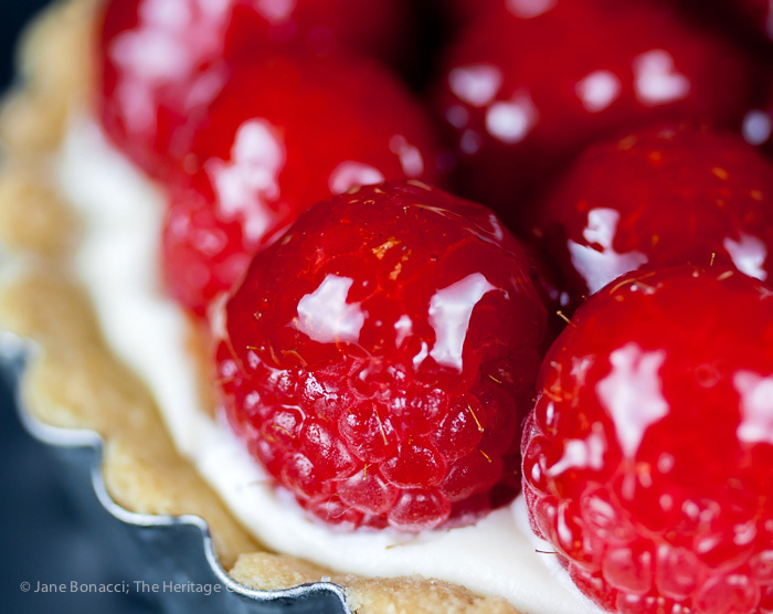 Close up of jelly-coated raspberries