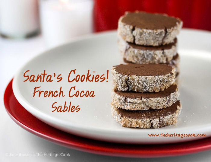 Santa Cookies! Sugar Crusted Chocolate Sable Shortbread Cookies