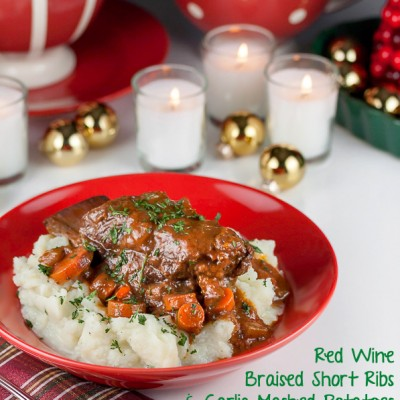 Red Wine Braised Short Ribs with Garlic Mashed Potatoes (Gluten-Free)