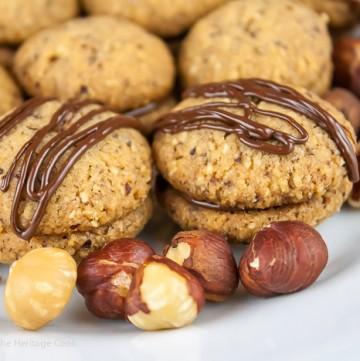Hazelnut Chocolate cookies with raw hazelnuts