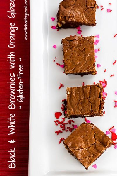 Brownies with White Chocolate Chunks and Walnuts + a luscious orange glaze