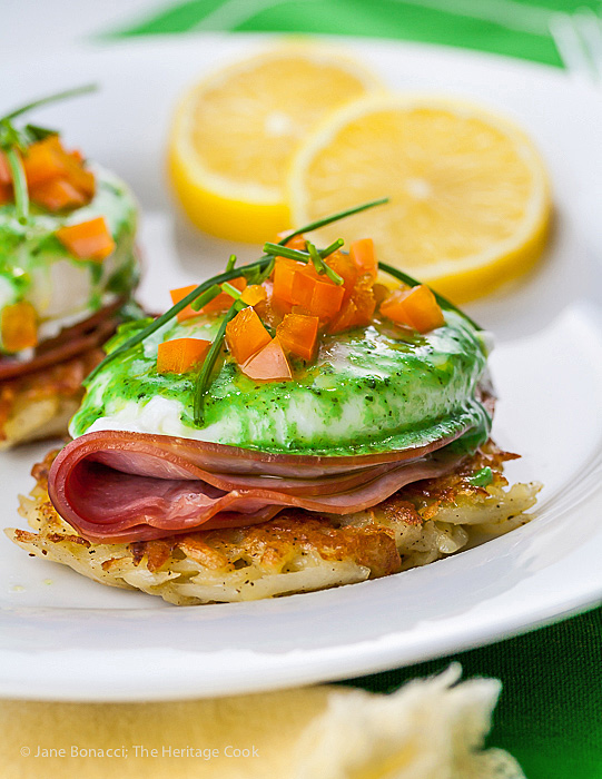 Irish Hash Browns Benedict with Basil Hollandaise; 2015 Jane Bonacci, The Heritage Cook