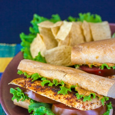 Grilled Chicken Sandwiches with Hummus Aioli for National Hummus Day!