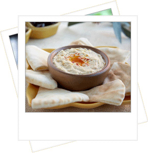Delicious Sabra hummus with pita breads