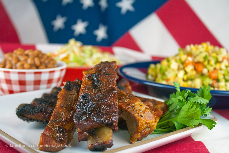 Blue Ribbon BBQ Ribs; 2015 Jane Bonacci, The Heritage Cook