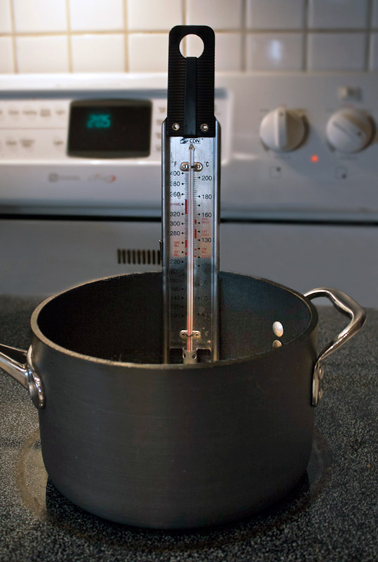 Candy thermometer set up and ready to make candy!