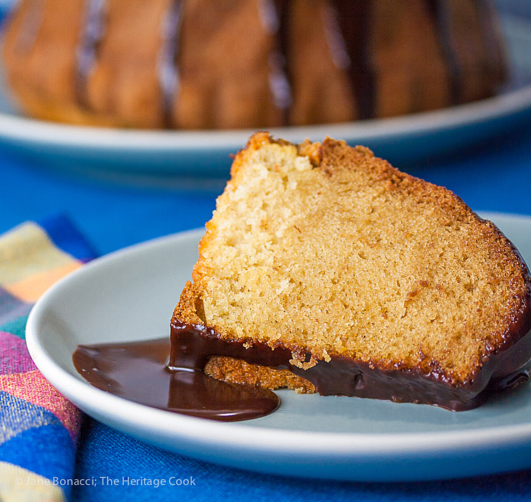 Bourbon Vanilla Bundt Cake with Chocolate Glaze; 2015 Jane Bonacci, The Heritage Cook.