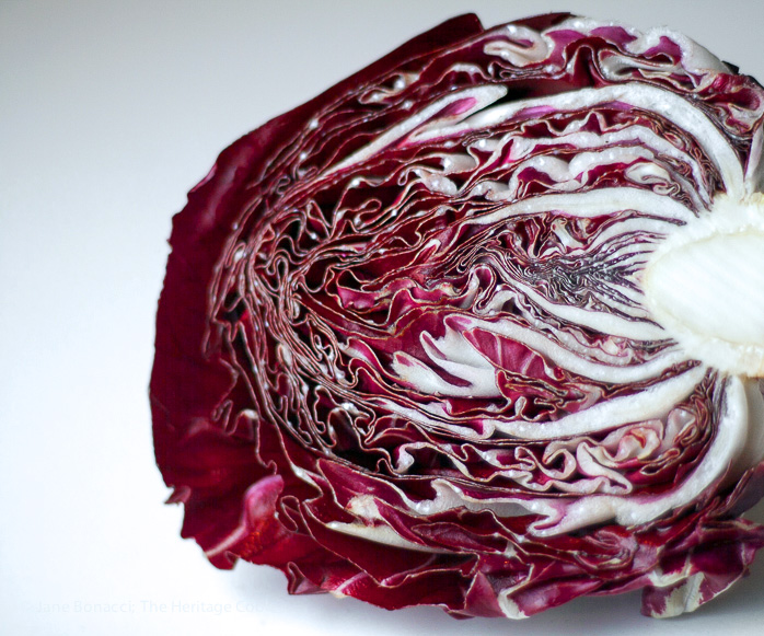 Interior of red cabbage; Crunchy Gluten-Free Red & Green Slaw; 2015 Jane Bonacci, The Heritage Cook