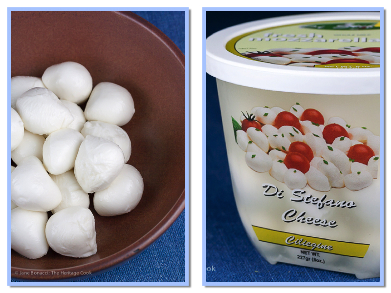 Bowl and container of bocconcini, mini balls of fresh mozzarella in water