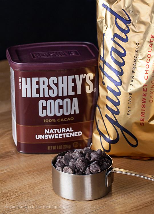 Chocolate ingredients; Savory Sassy Chocolate BBQ Sauce; 2015 Jane Bonacci, The Heritage Cook