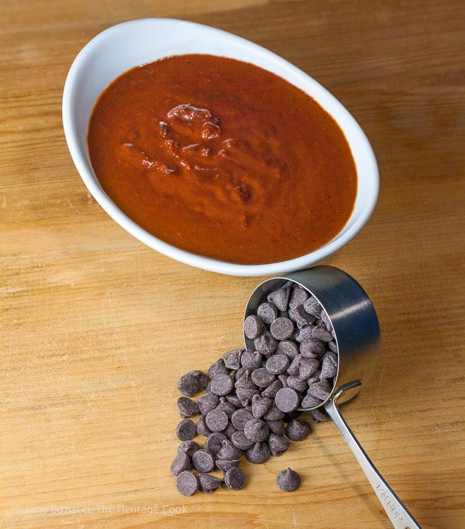 BBQ sauce in bowl with chocolate chips; Savory Sassy Chocolate BBQ Sauce; 2015 Jane Bonacci, The Heritage Cook