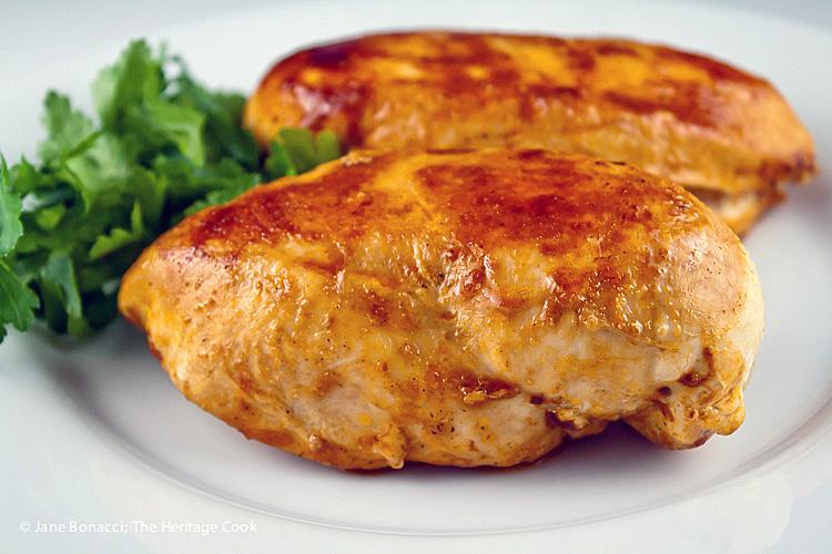 2 chicken breasts resting before dinner; Savory Sassy Chocolate BBQ Sauce; 2015 Jane Bonacci, The Heritage Cook