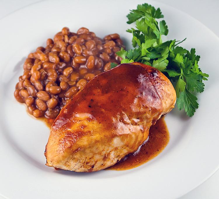 BBQ chicken dinner is served with Chocolate BBQ sauce; Savory Sassy Chocolate BBQ Sauce; 2015 Jane Bonacci, The Heritage Cook