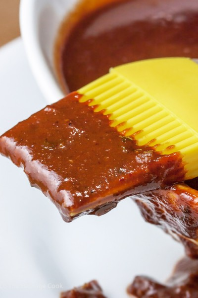 Sauce dripping off brush-Savory Sassy Chocolate BBQ Sauce; 2015 Jane Bonacci, The Heritage Cook