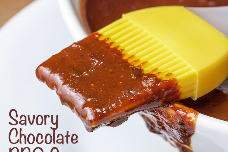Sauce dripping off brush - Savory Sassy Chocolate BBQ Sauce; 2015 Jane Bonacci, The Heritage Cook