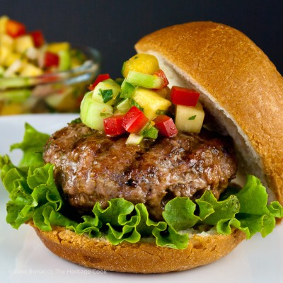 Caribbean-Pork-Burgers; Gluten-Free 101 and 20 GF Recipes for your outdoor grilling parties; 2015 Jane Bonacci, The Heritage Cook