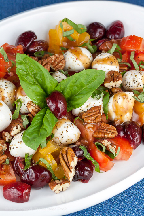 Celebrate the 4th of July with this Tangy Caprese Salad with Pickled Cherries (Gluten-Free); 2015 Jane Bonacci, The Heritage Cook