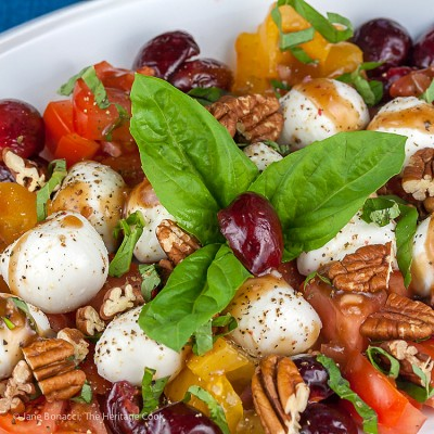 Tangy Caprese Salad with Pickled Cherries (Gluten-Free)