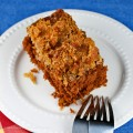 Slice of Upside Down German Chocolate Cake (Gluten-Free); 2015 Jane Bonacci, The Heritage Cook