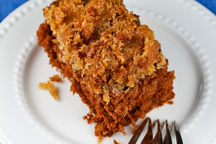 Slice of Upside Down German Chocolate Cake (Gluten-Free); 2015 Jane Bonacci, The Heritage Cook