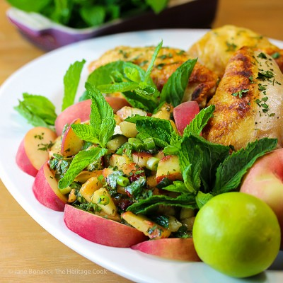 Peach Chimichurri Sauce with Grilled Chicken; 2015 Jane Bonacci, The Heritage Cook