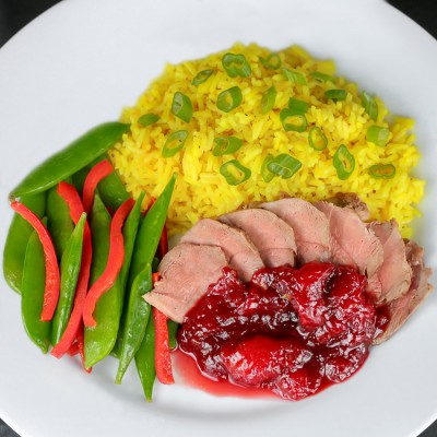 The perfect special occasion dinner - Pan Seared Duck Breasts with Fresh Plum Sauce; © 2015 Jane Bonacci, The Heritage Cook