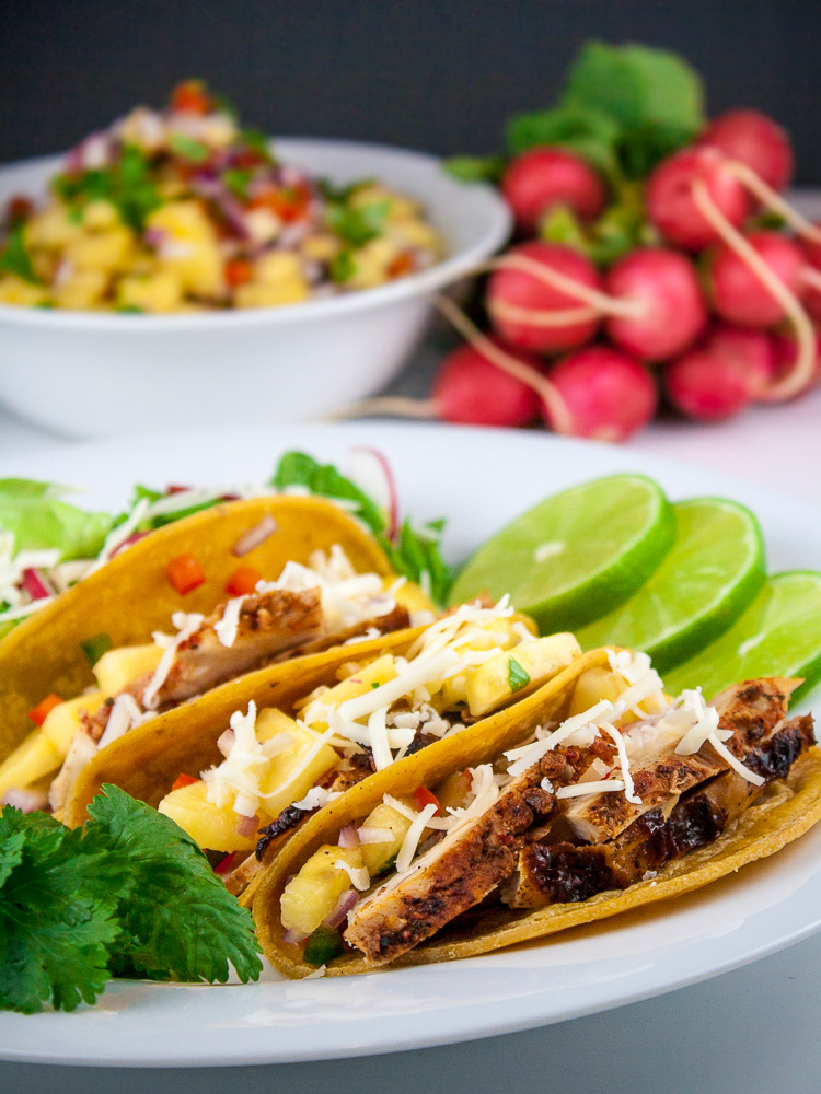 Grilled Mexican Chicken Tacos with Fresh Pineapple Salsa; 2015 Jane Bonacci, The Heritage Cook