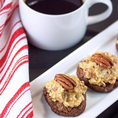 Coconut and Pecan Topped Chocolate Cookies; 2015 Jane Bonacci, The Heritage Cook