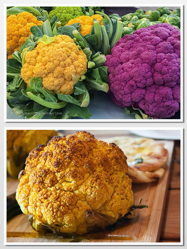Roasted Whole Cauliflower with Sriracha Butter; 2015 Jane Bonacci, The Heritage Cook