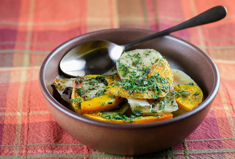 Sage, Pumpkin and Potato Bake; © 2015 Jane Bonacci, The Heritage Cook
