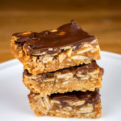 Nutty Chocolate-Caramel Bar Cookies; © 2015 Jane Bonacci, The Heritage Cook