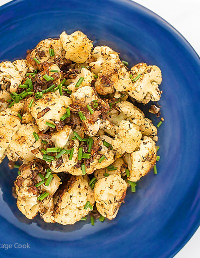 Lemon and Dukkah Roasted Cauliflower - Gluten-Free; 2015 Jane Bonacci, The Heritage Cook.