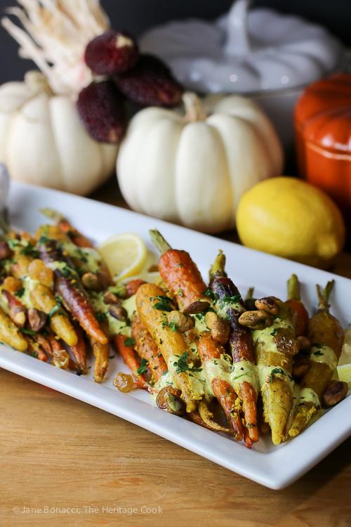 Roasted Curried Carrots with Raisins and Yogurt Sauce (Gluten-Free); 2015 Jane Bonacci, The Heritage Cook.