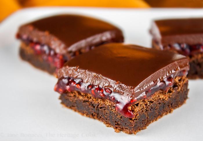 Raspberry Chocolate Brownies; 2015 Jane Bonacci, The Heritage Cook