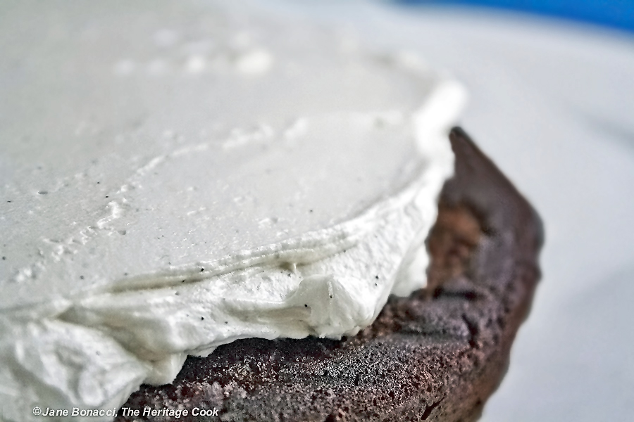 Beautiful vanilla seeds in the vanilla frosting; Chocolate Layer Cake with Vanilla Filling (Gluten-Free option); 2015 Jane Bonacci, The Heritage Cook.