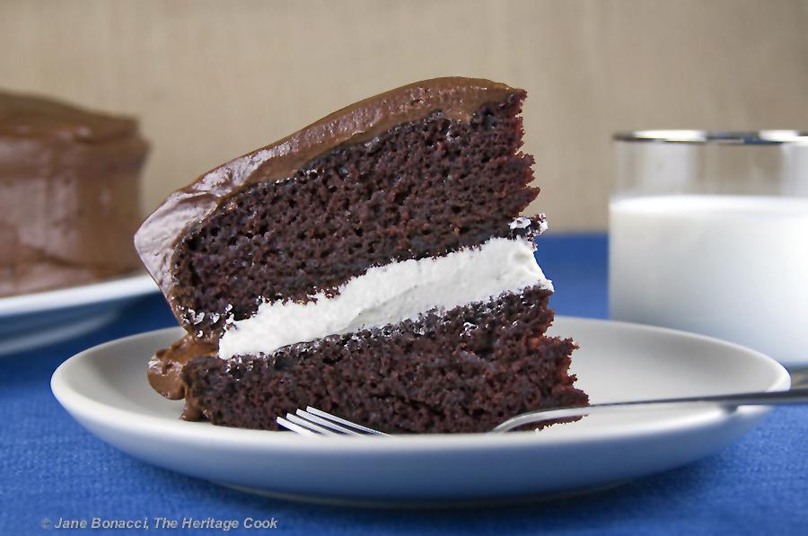 Chocolate Layer Cake with Vanilla Filling (Gluten-Free option); 2015 Jane Bonacci, The Heritage Cook.
