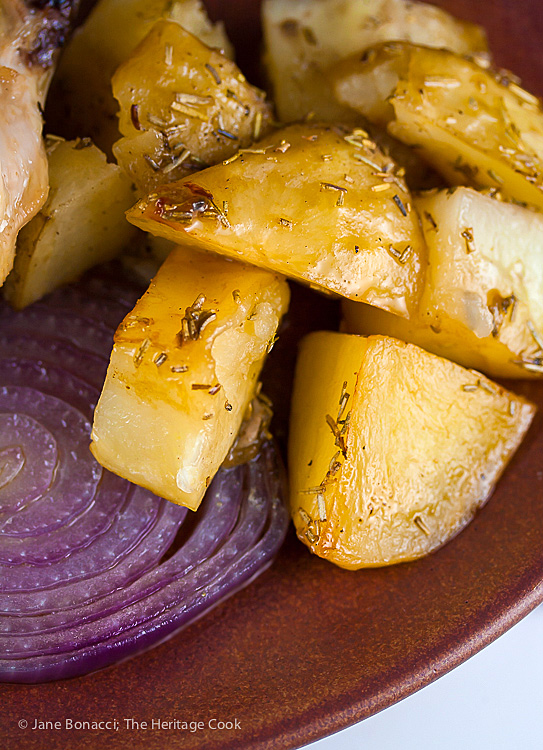 Roasted potatoes and onions for Grandma's Simple Roast Chicken; 2015 Jane Bonacci, The Heritage Cook