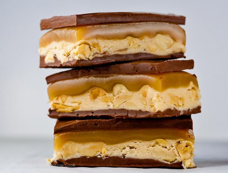 Homemade Snicker's Bars; 2015 Jane Bonacci, The Heritage Cook
