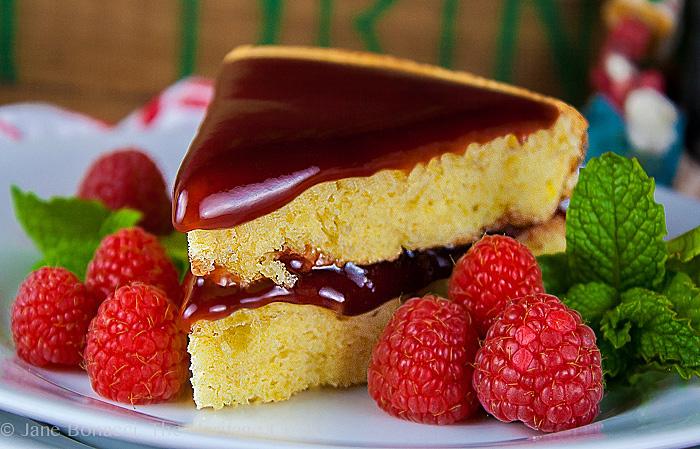 Almond Cake with Raspberry-Cassis Ganache; 2015 Jane Bonacci, The Heritage Cook
