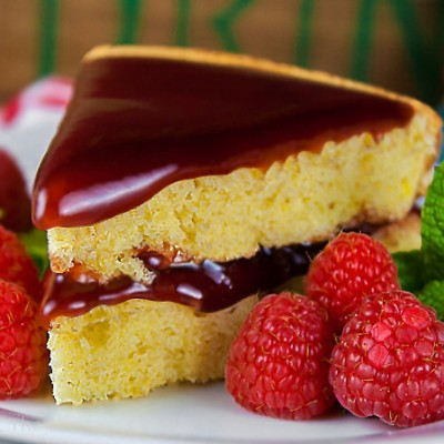 Almond Cake with Raspberry-Cassis Ganache (Gluten-Free & Dairy Free options)