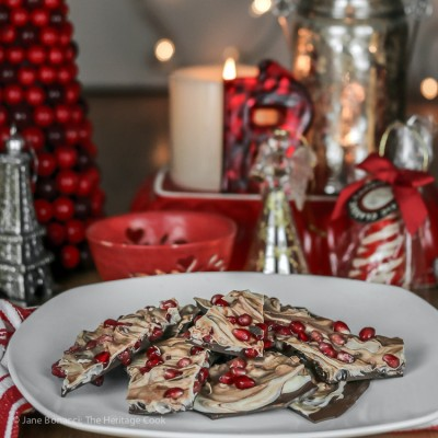 Ginger and Pomegranate Duo-Tone Chocolate Bark (Gluten-Free)