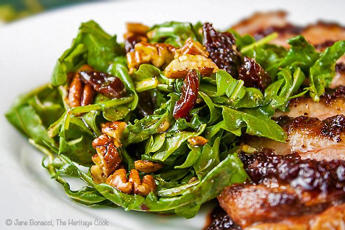 Arugula Salad with Cherry Vinaigrette; Cherry Glazed Duck Breasts and Arugula Salad with Cherry Vinaigrette; © 2013 Jane Bonacci, The Heritage Cook