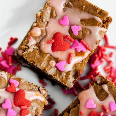 Valentine Brownies with Blood Orange Glaze (Gluten Free)