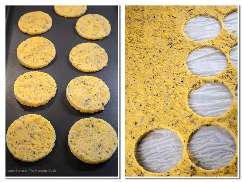 Firm polenta cut into circles; Gluten-Free Italian Sliders with Polenta and Marinara; © 2016 Jane Bonacci, The Heritage Cook