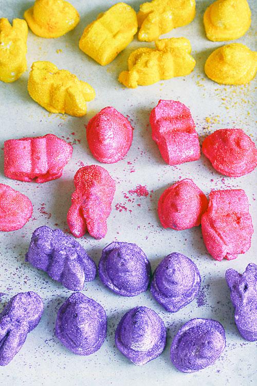 Freshly coated peeps on baking sheet; Bright Sugar Coated Homemade Peeps; @ 2016 Jane Bonacci, The Heritage Cook
