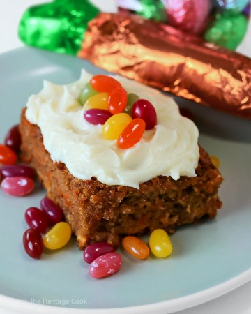 Festive candies add fun to any dessert; White Chocolate Studded Carrot Cake with Cream Cheese Frosting for Easter; © 2016 Jane Bonacci, The Heritage Cook